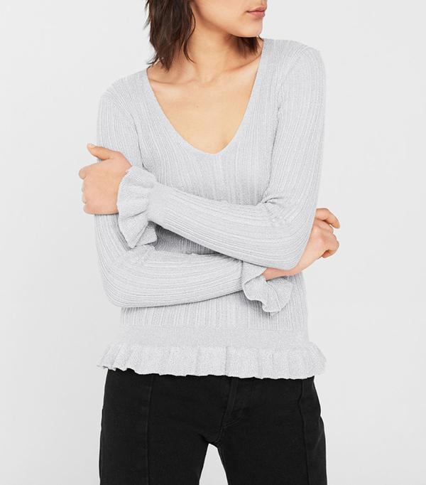 Mango Ruffled metallic sweater