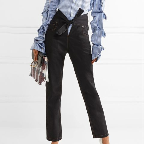 Tie-Front High-Rise Straight-Leg Jeans