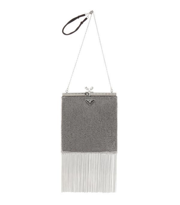 prada metal shoulder bag