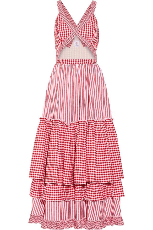 pink gingham dress - Gül Hürgel Tiered Cutout Midi Dress