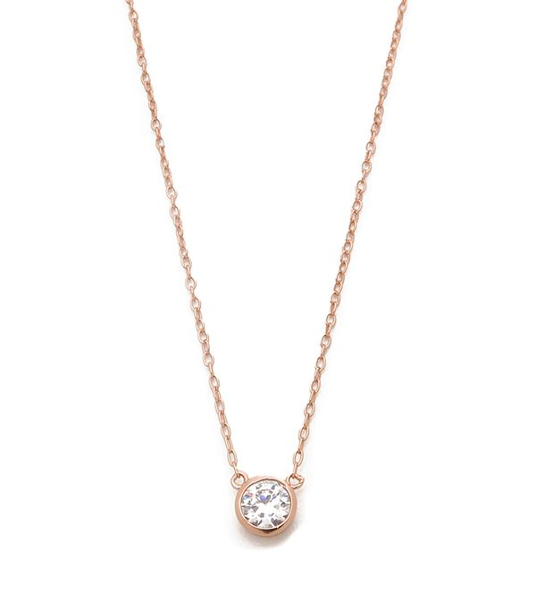 how to layer jewelry - shashi solitaire necklace