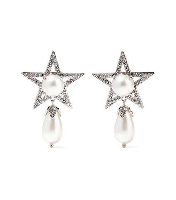 Miu Miu Silver-Plated Swarovski Crystal and Faux Pearl Clip