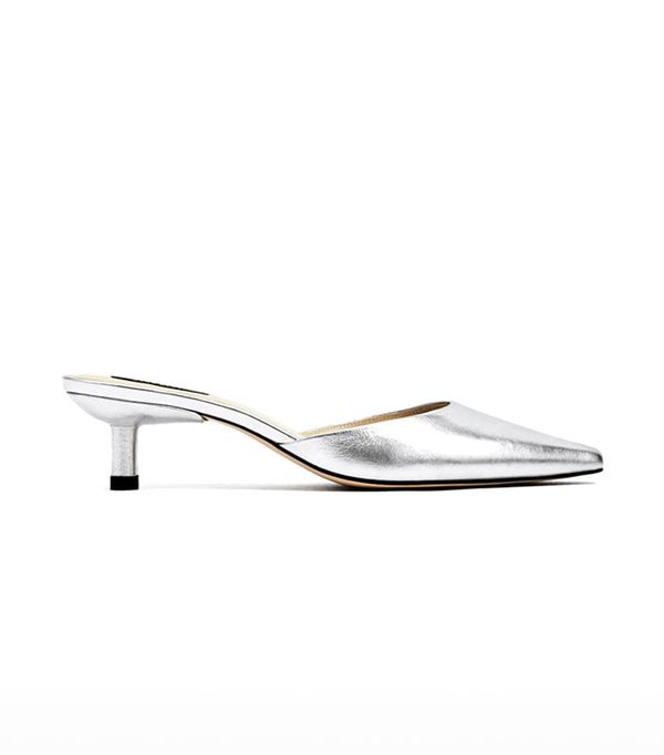 Zara Silver-Toned Leather High Heel Mules