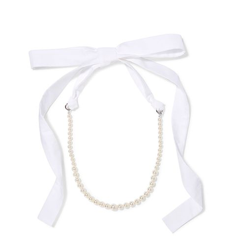 Silver-Tone Faux Pearl and Poplin Necklace