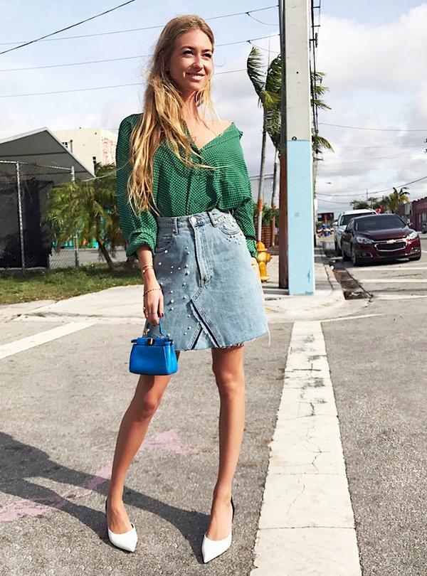 fast fashion instagram account - zara pearl skirt