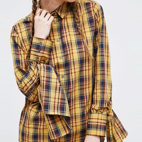 Mustard Check Cotton Shirt With Extreme Tie Sleeves