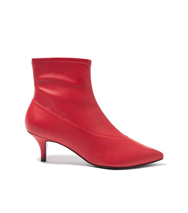 topshop red ankle boots