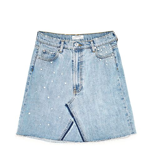 Denim Skirt With Pearl Details