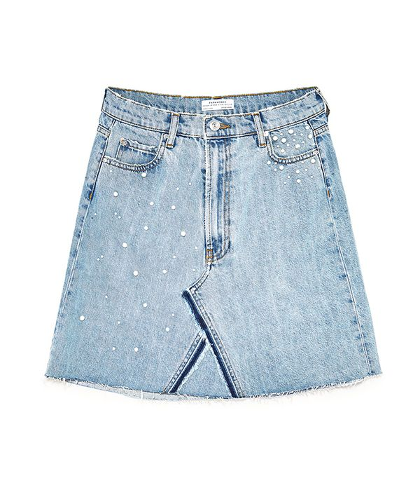Zara Denim Skirt With Pearl Details