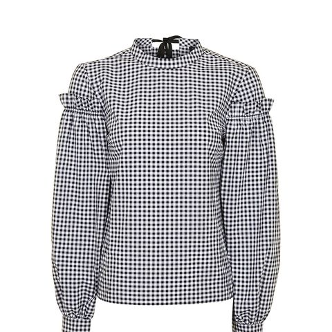 Gingham Mutton Sleeve Blouse