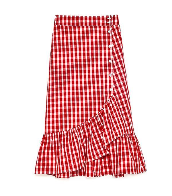 Zara Gingham Frilled Skirt