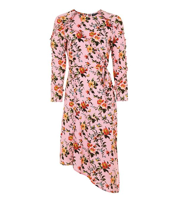 Tosphop Floral Ruffle Midi Dress