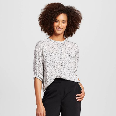 Collarless Button Up Blouse
