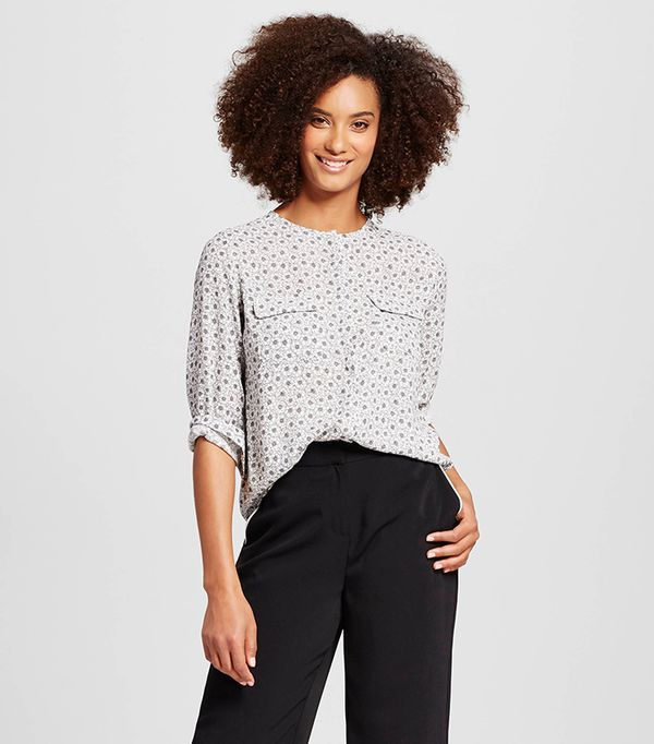 who what wear collarless button up blouse