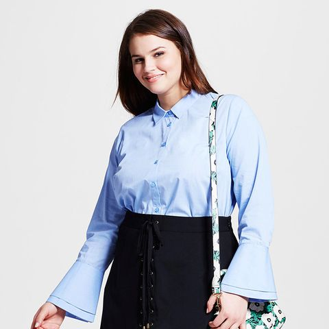 Plus Size Layered Cuff Button Up