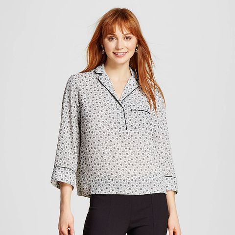 Slouchy Pajama Shirt With Piping