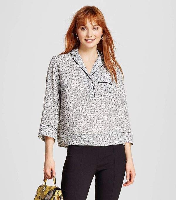 Who What Wear Slouchy Pajama Shirt with Piping