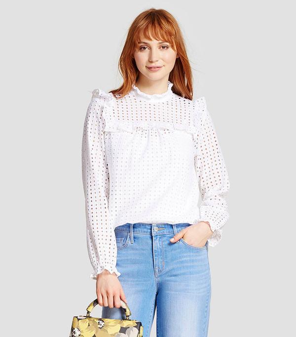 best ruffle blouse white eyelet