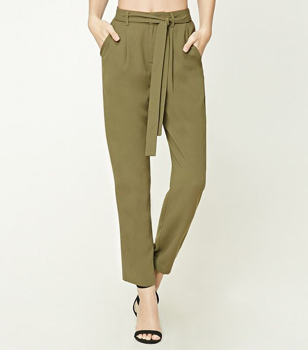 green pants outfits - Forever 21 Tie-Waist Trousers