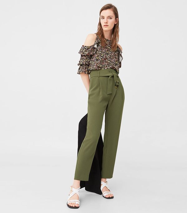 khaki pant outfits - Mango Belted Crepe Pants