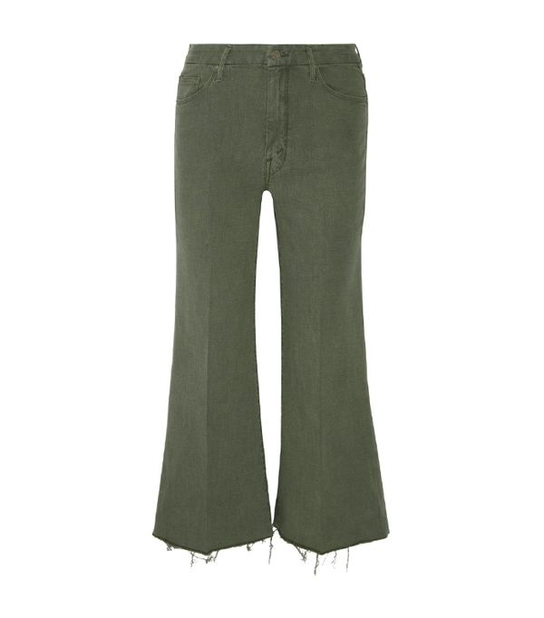 khaki pant outfits - Mother Roller Jeans