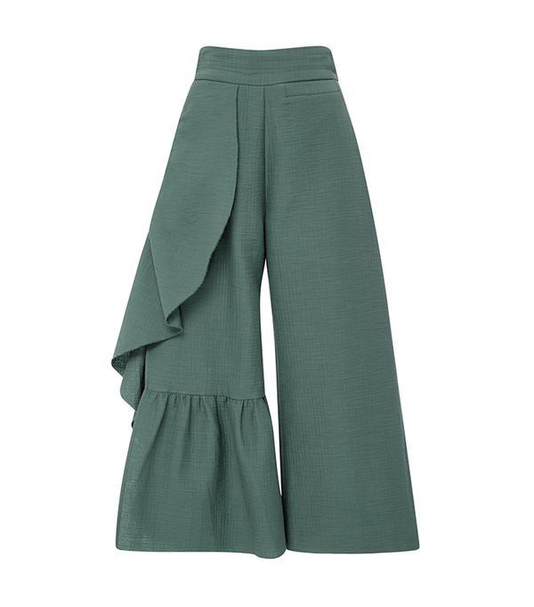 khaki pant outfits - Rachel Comey Ruffle Revel Pants