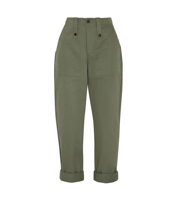 khaki pant outfits -  Bassike Cotton-Canvas Pants