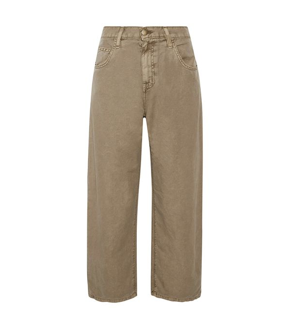 khaki pant outfits -  Current/Elliott Pleated Barrel Pants
