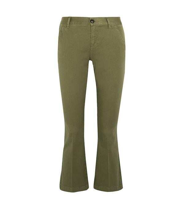 khaki pant outfits - Frame Crop Flare Pants