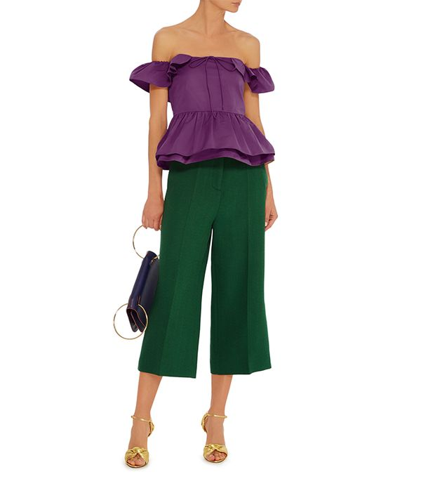 green pant outfits - Rochas Wide Leg Cropped Pant