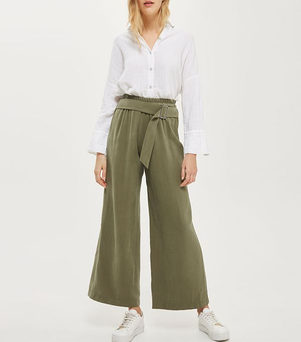 green pant outfits - Topshop High Waisted Belted Trousers
