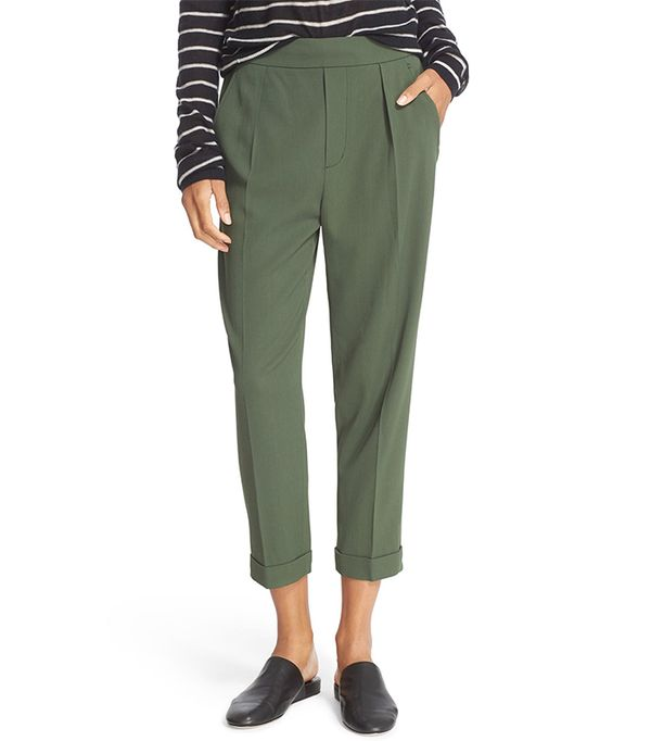 green pant outfits - Vince Pull-On Tapered Crop Trousers