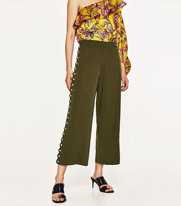 green pant outfits - Zara Cropped Trousers