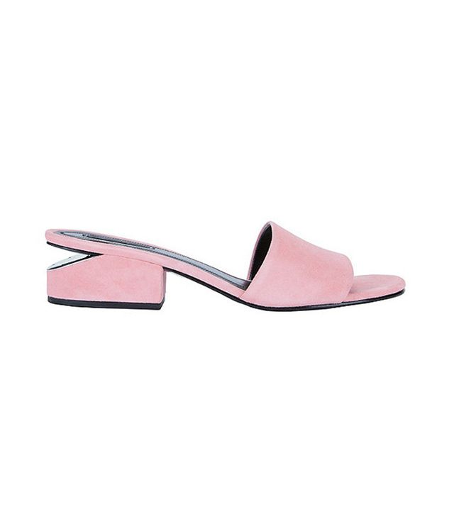 Alexander Wang Lou Pink Suede Slide Sandals