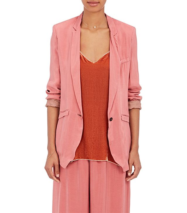 Matte Satin One-Button Jacket