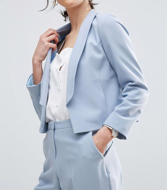 Tailored Crepe Blazer with Collar Detail