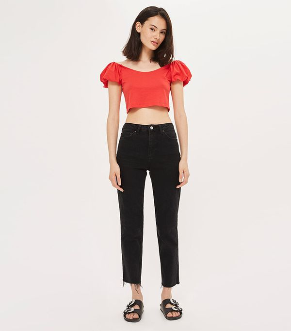 French girl style - Topshop Raw Hem Straight Leg Jeans