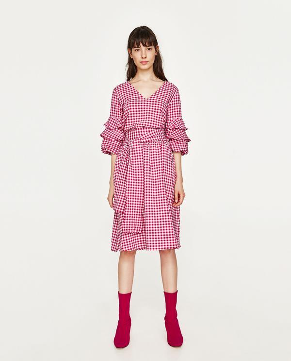 Chicago street style - Zara gingham skirt