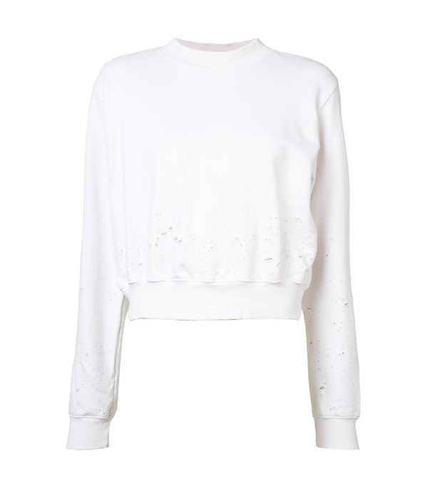 best athleisure brands - Cotton Citizen Distressed Cropped Sweater