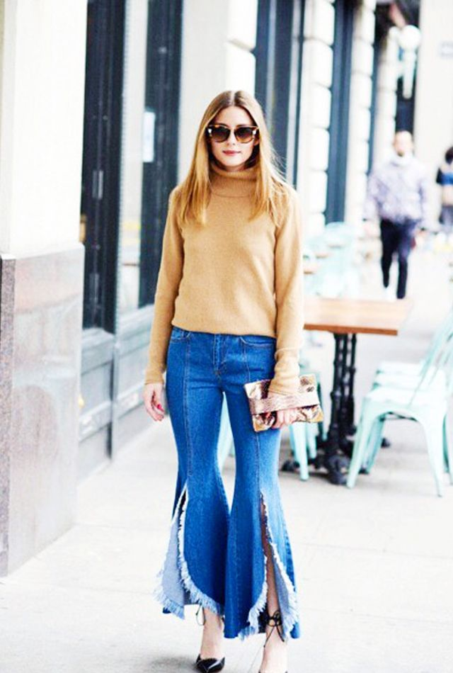 On Olivia Palermo: SJYP Steve J & Yoni P Frayed Mid-Rise Flared Jeans (£300).