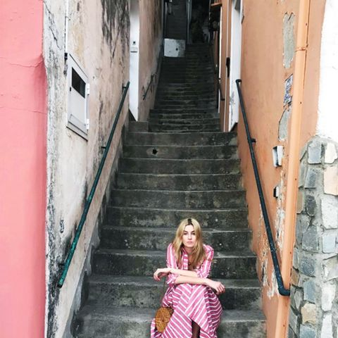 French Riviera style: Camille red and white striped dress