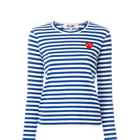 Embroidered Heart Striped T-Shirt