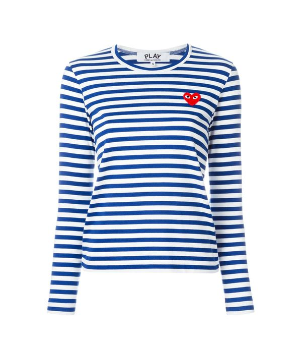 Commes des Garçons Play: Commes des Garçons Play Embroidered Heart Striped T-Shirt