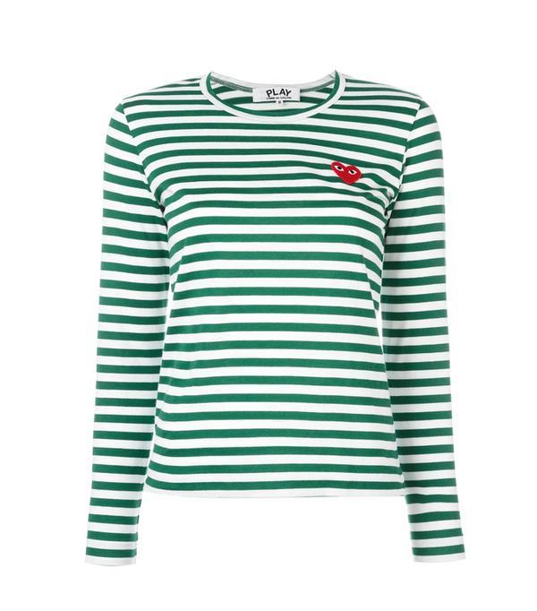 Commes des Garçons Play: Commes des Garçons Play Striped Longsleeved T-Shirt