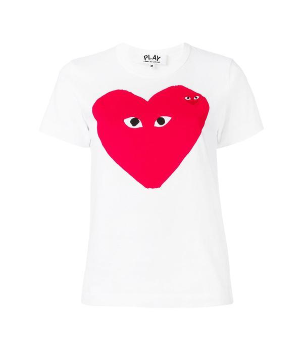 Commes des Garçons Play: Commes des Garçons Play Logo Print T-shirt
