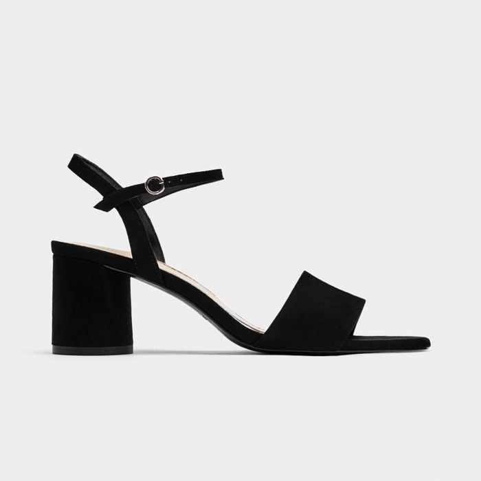 Zara Faux Patent Leather Block Heel Sandals