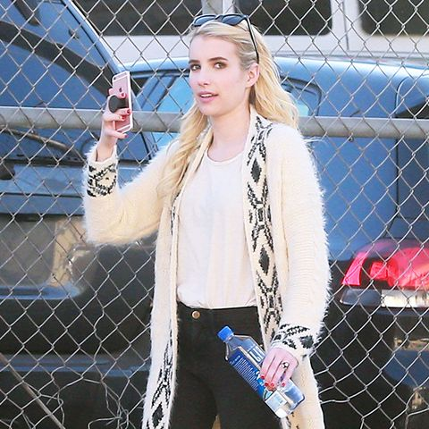 Emma Roberts wearing Robert Clergerie Alice Mules