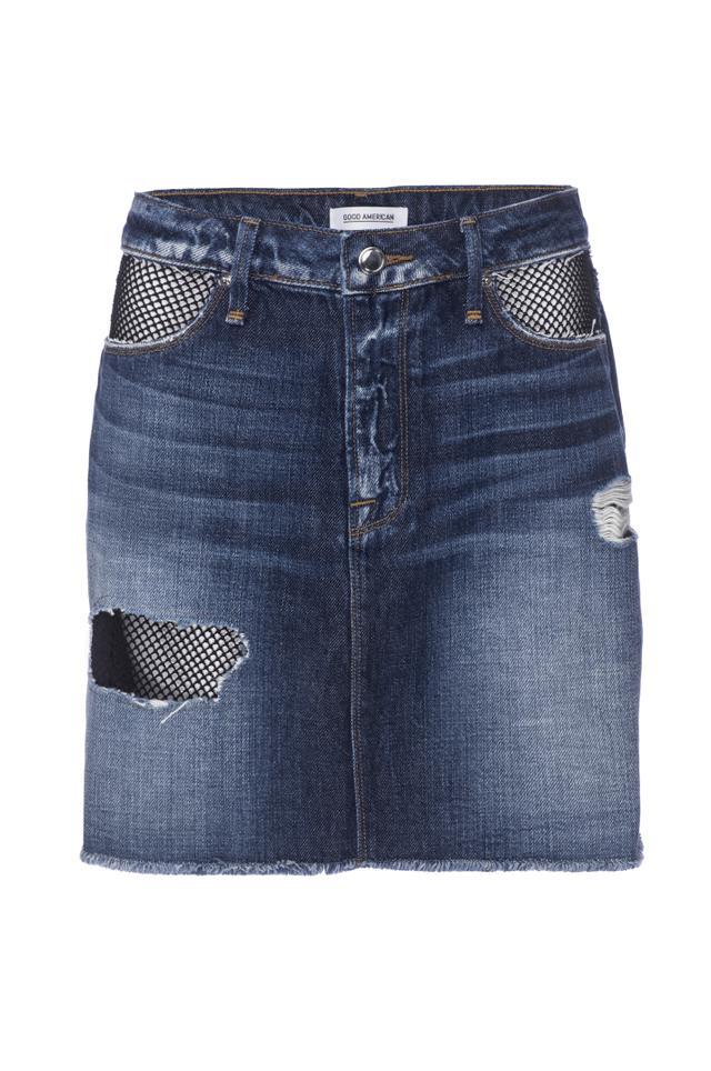 Good American Denim Fishnet Mini Skirt
