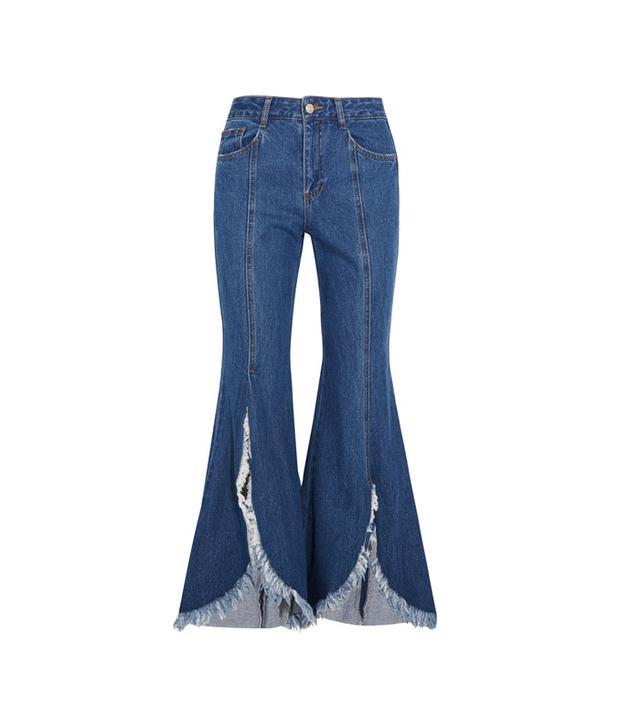 SJYP Steve J & Yoni P Frayed Mid-Rise Flared Jeans
