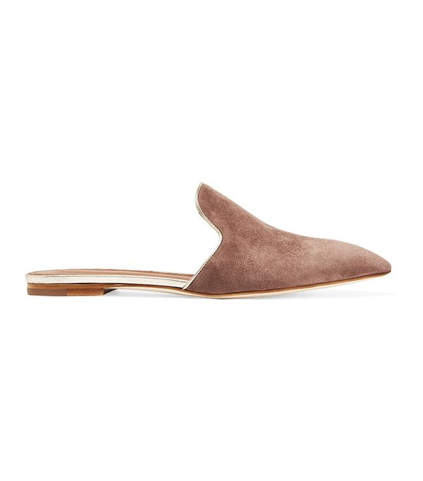 Malone Souliers Marianne Metallic Leather-Trimmed Suede Slippers
